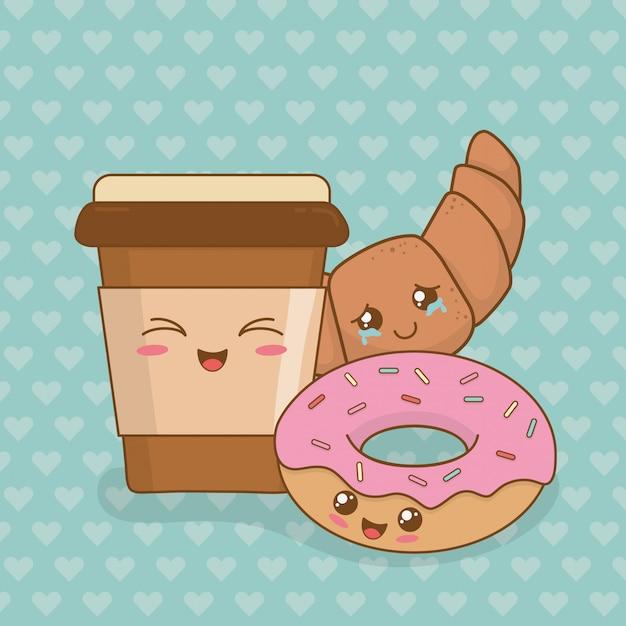Kaffee mit donuts kawaii zeichen Premium Vektoren
