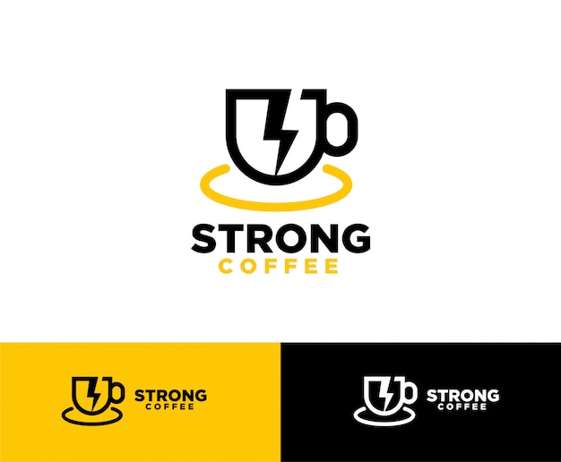 Kaffee mit flash-symbol-logo-design Premium Vektoren