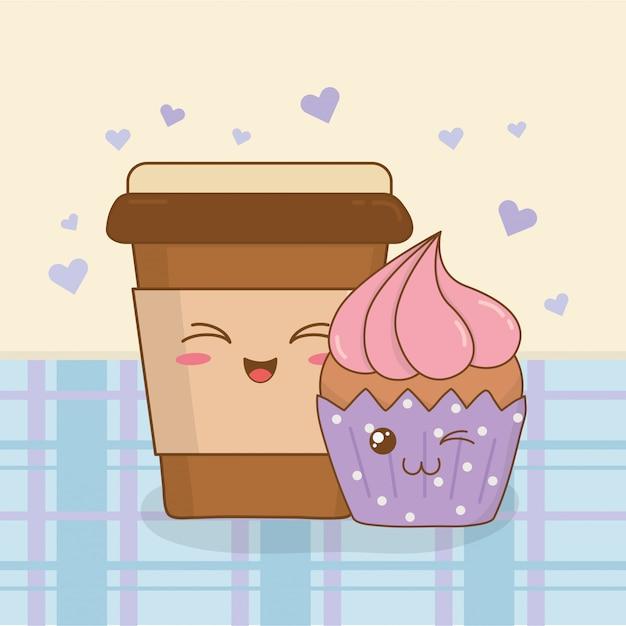 Kaffee mit kawaii charakteren des kleinen kuchens Premium Vektoren