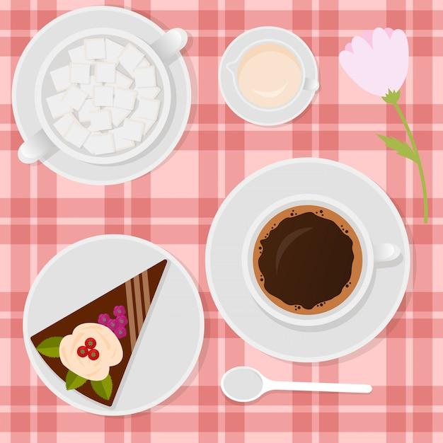 Kaffee mit milch und kuchen auf der tabellenillustration. Premium Vektoren