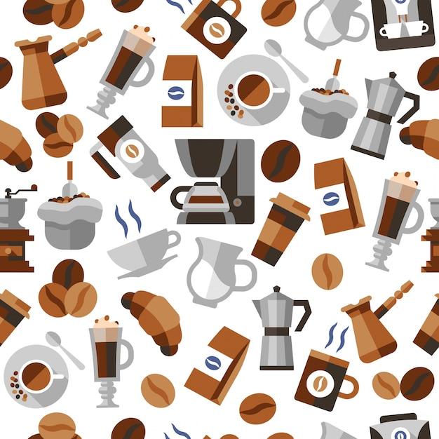 Kaffee nahtlose muster Kostenlosen Vektoren