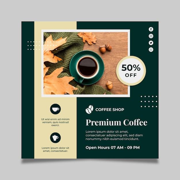 Kaffee quadratische flyer vorlage mit rabatt Kostenlosen Vektoren