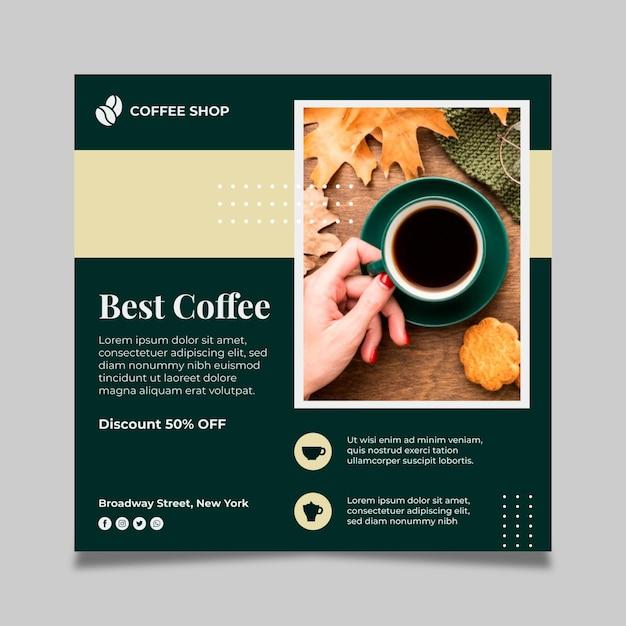 Kaffee quadratische flyer vorlage Kostenlosen Vektoren