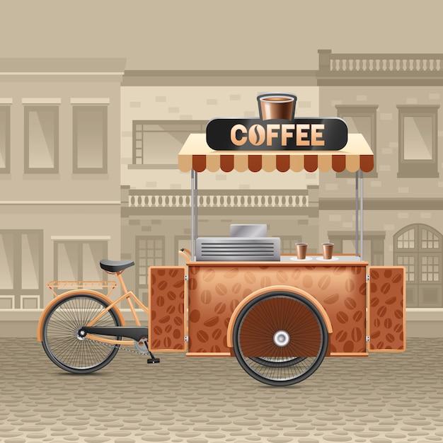 Kaffee-straßenkarren-illustration Kostenlosen Vektoren