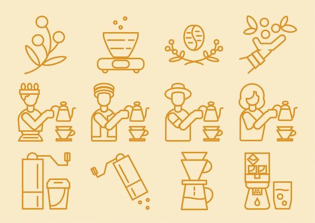 Kaffee-tropfer-symbol mit brauprozess Premium Vektoren