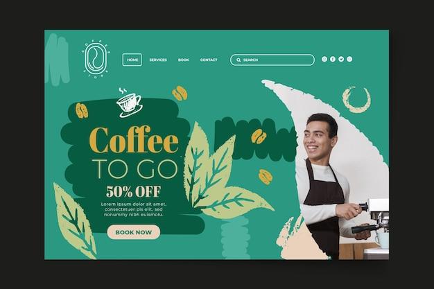 Kaffee, um landingpage-vorlage zu gehen Kostenlosen Vektoren