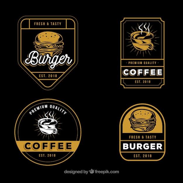 Kaffee und burgerlogosammlung mit weinleseart Kostenlosen Vektoren