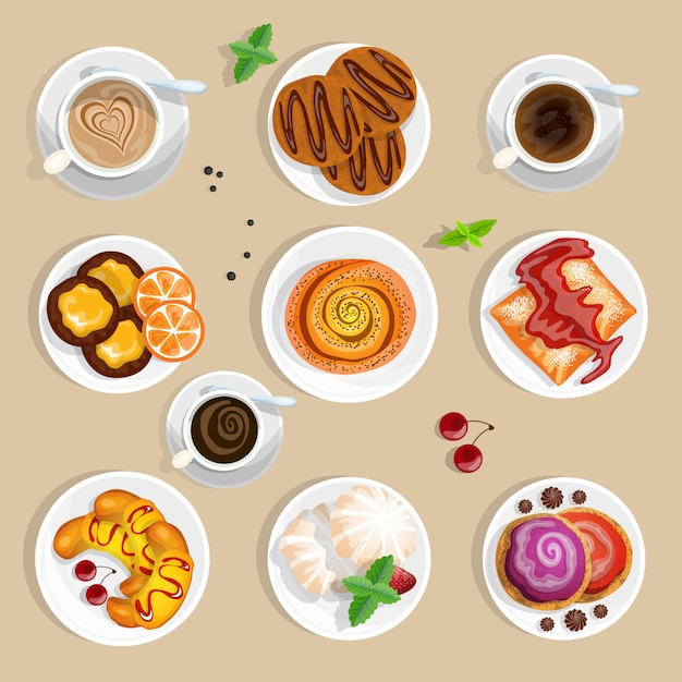 Kaffee und süßigkeiten draufsicht set Kostenlosen Vektoren