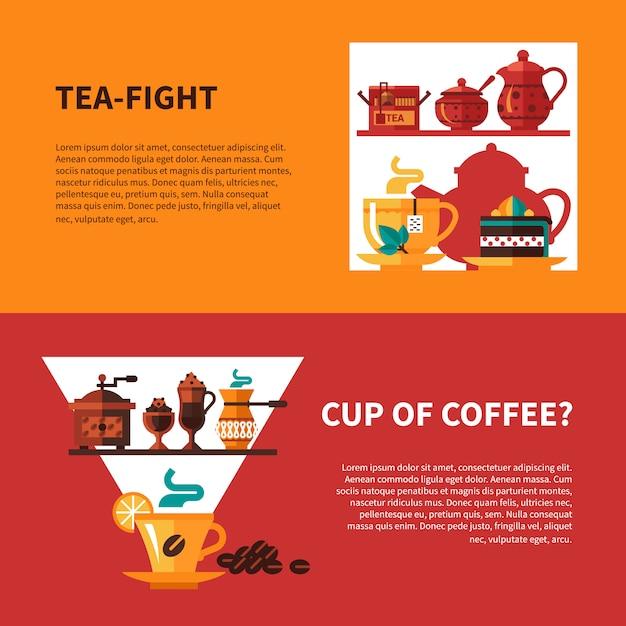 Kaffee und tee 2 banner Kostenlosen Vektoren