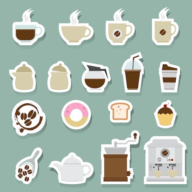 Kaffee- und teeikonen eingestellt Premium Vektoren