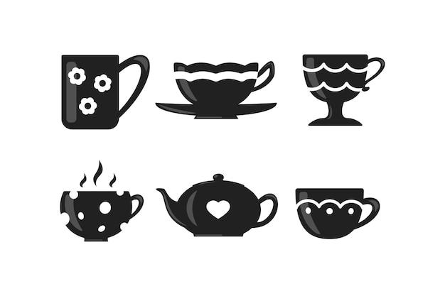 Kaffee- und teetassenset. teatime-bechersymbole. Premium Vektoren