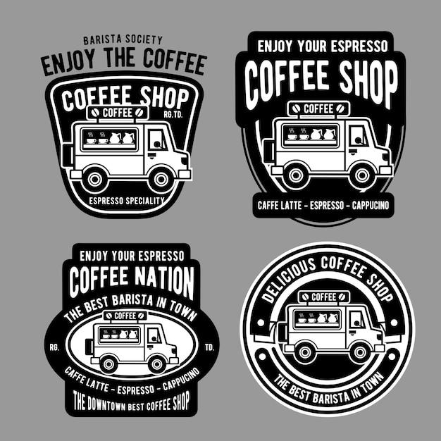 Kaffee van abzeichen design Premium Vektoren