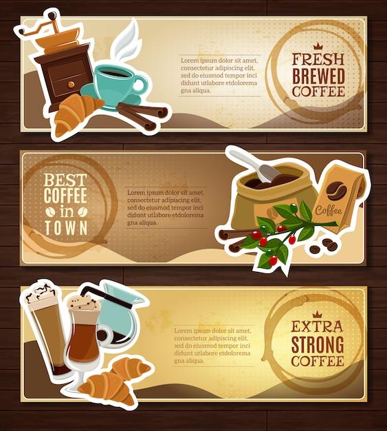 Kaffee-weinlese-flache fahnen stellten brown ein Kostenlosen Vektoren
