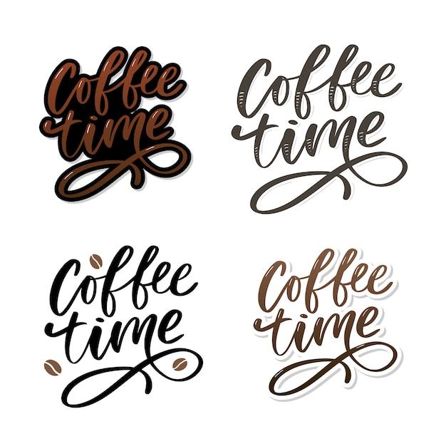 Kaffee-zeitkarte. hand gezeichnetes positives zitat. Premium Vektoren