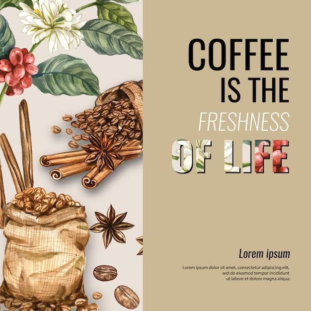 Kaffeearabica-bohnentasche mit kaffeetasse americano, zimtkaffeemaschine-aquarellillustration Kostenlosen Vektoren
