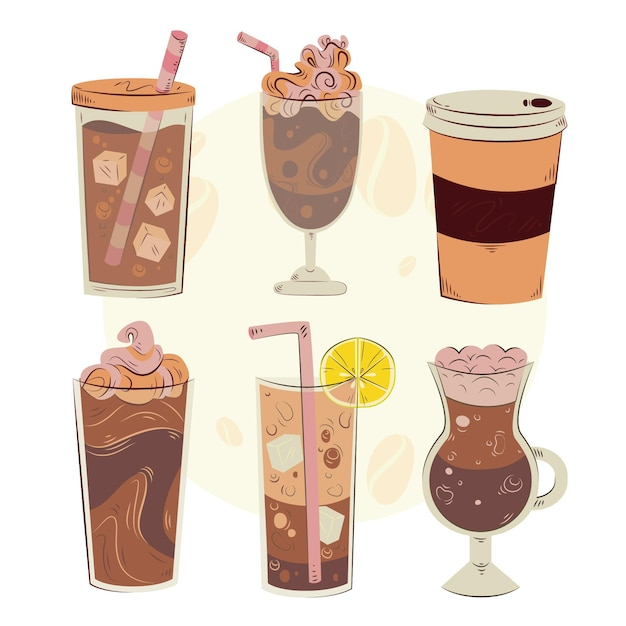 Kaffeearten illustrationskonzept Kostenlosen Vektoren