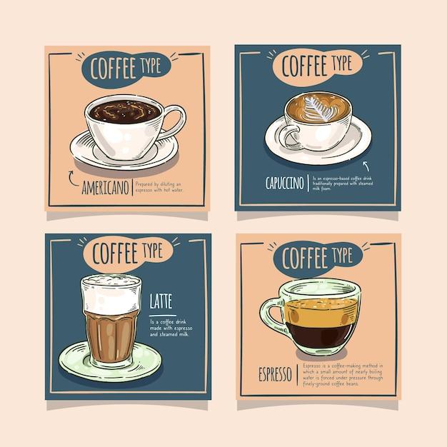 Kaffeearten instagram post sammlung Premium Vektoren