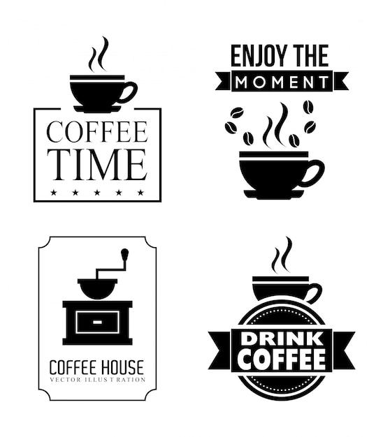 Kaffeeauslegung über weißer hintergrundvektorillustration Premium Vektoren