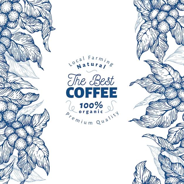 Kaffeebaum banner vorlage. vektor-illustration retro kaffee hintergrund. Premium Vektoren