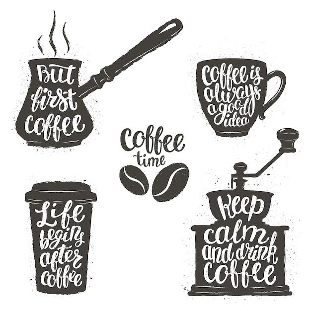 Kaffeebeschriftung in der tasse, mühle, topfformen. Premium Vektoren