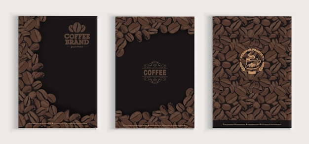 Kaffeebohnen abdeckung design-set Premium Vektoren