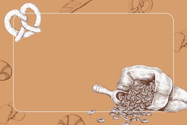 Kaffeebohnen mit einer brezel Kostenlosen Vektoren
