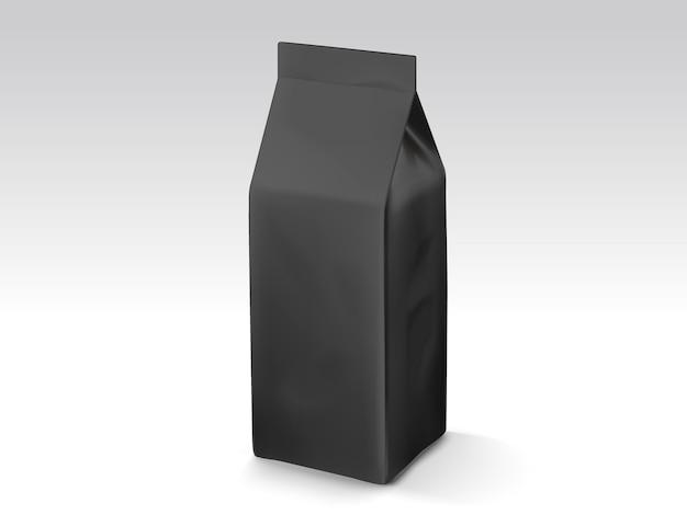 Kaffeebohnen- oder teeblattbeutel, illustrationsbeutelschablone für gebrauch, schwarzer folienbeutel Premium Vektoren