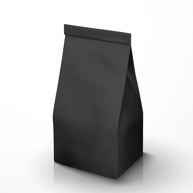 Kaffeebohnenpaket, schwarzes folienpaket in der abbildung für verwendungszwecke Premium Vektoren