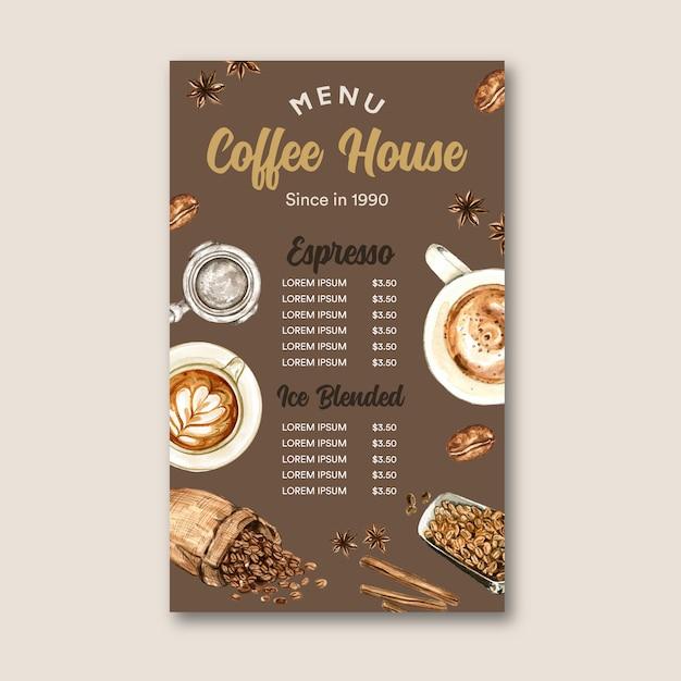 Kaffeecafémenü americano, cappuccino, espressomenü mit beutelbohne, aquarellillustration Kostenlosen Vektoren