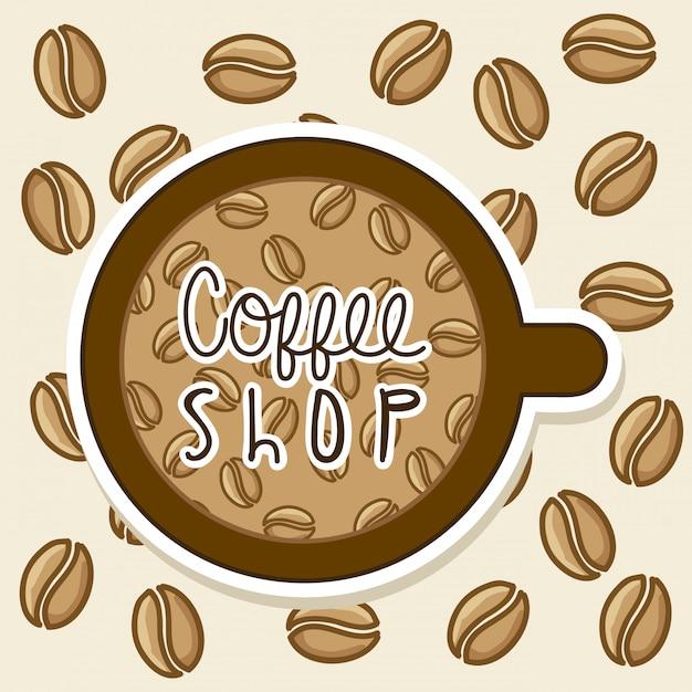 Kaffeedesign über beige hintergrundvektorillustration Premium Vektoren