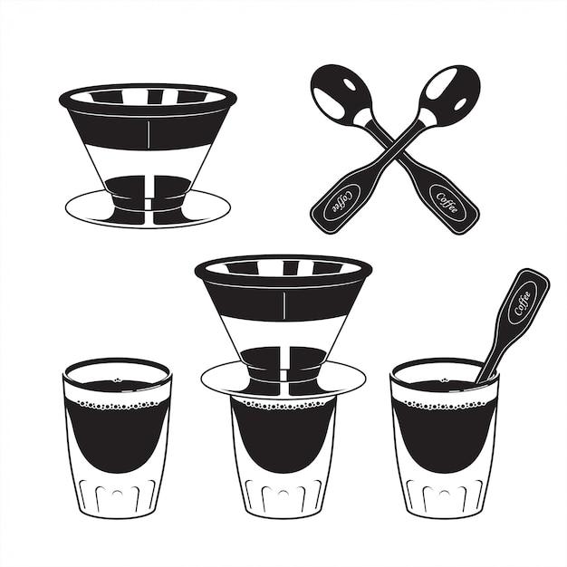 Kaffeefilterlöffel und glas espresso Premium Vektoren