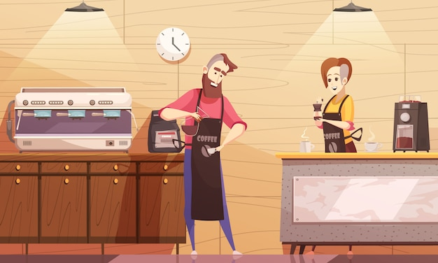 Kaffeehaus-vektor-illustration Kostenlosen Vektoren