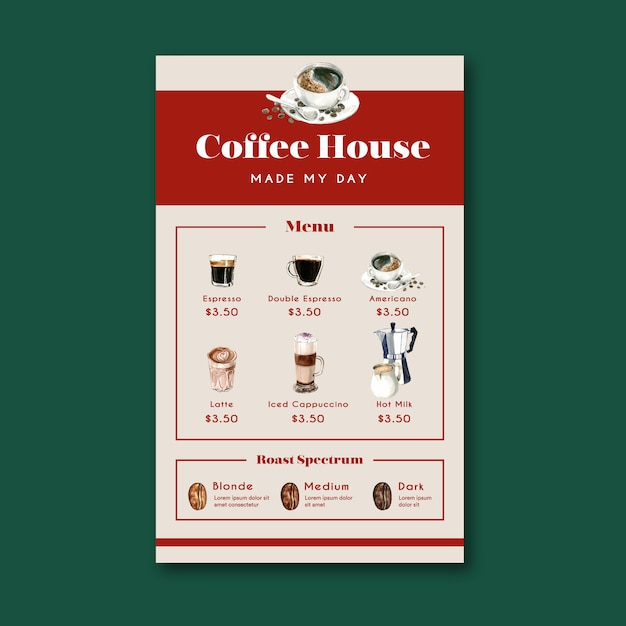 Kaffeehausmenü americano, cappuccino, espressomenü, infographic, aquarellillustration Kostenlosen Vektoren