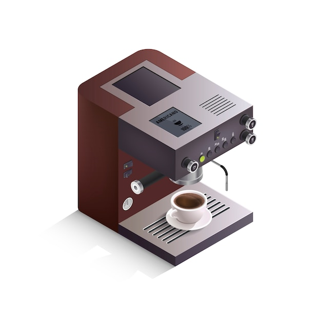 Kaffeemaschine isometrische illustration Kostenlosen Vektoren