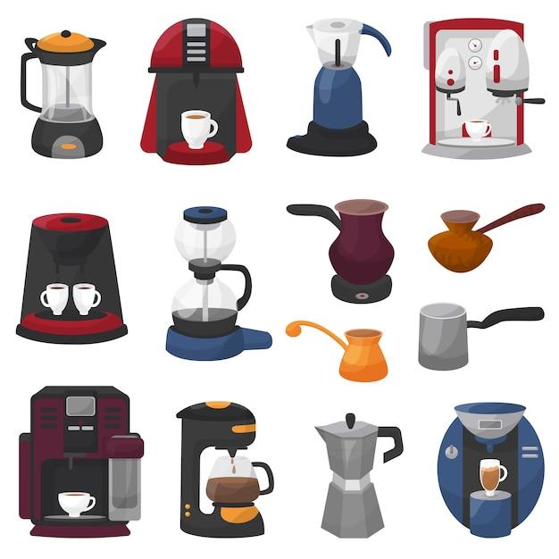 Kaffeemaschine vektor kaffeemaschine und kaffeemaschine für espresso trinken mit koffein im cafésatz der kaffeekanne kaffeetasse der berufsausrüstung Premium Vektoren