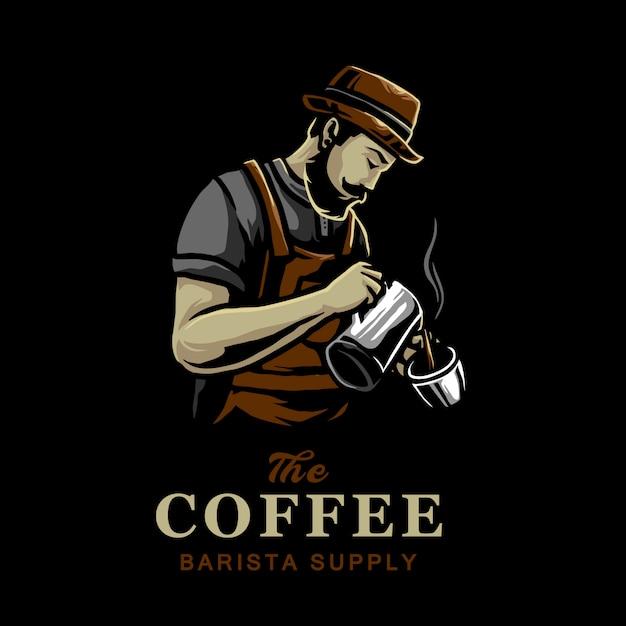 Kaffeemischer im kaffeestube-vektorlogodesign Premium Vektoren