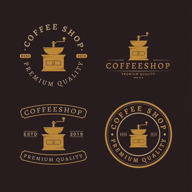 Kaffeemühle logo pack Premium Vektoren