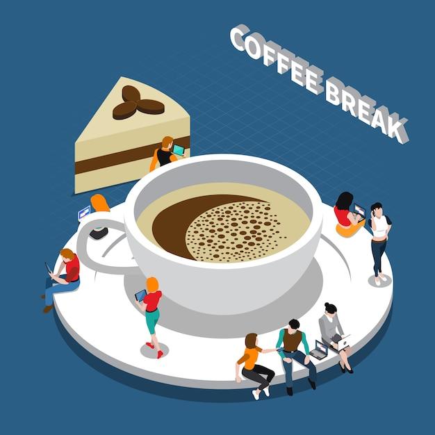 Kaffeepause isometrische zusammensetzung Kostenlosen Vektoren