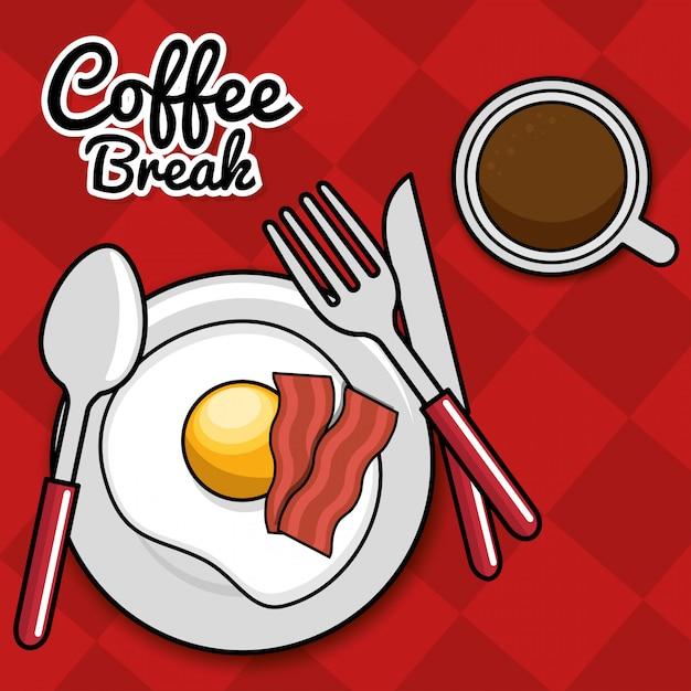 Kaffeepause spiegelei speck mit löffel gabel messer Kostenlosen Vektoren