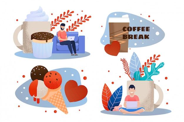 Kaffeepause und snack bei der arbeit flat metaphor set Premium Vektoren