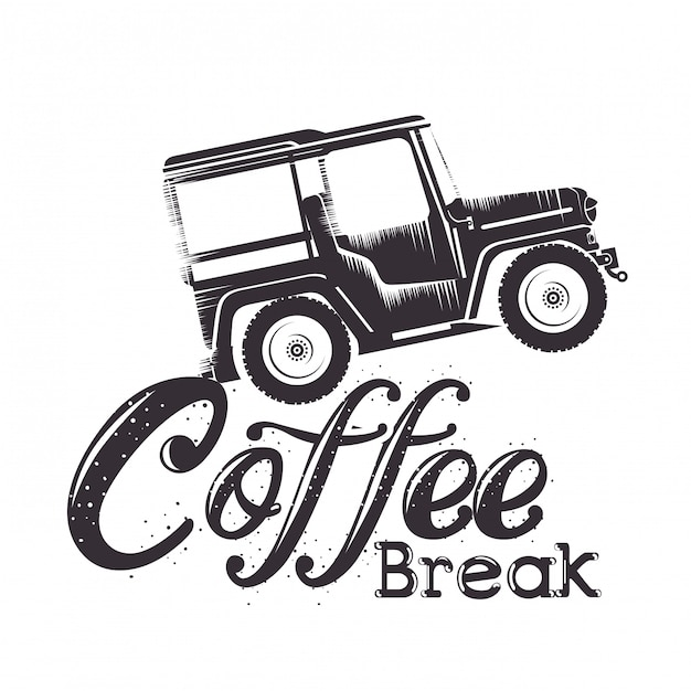 Kaffeepausenaufkleber mit auto Kostenlosen Vektoren