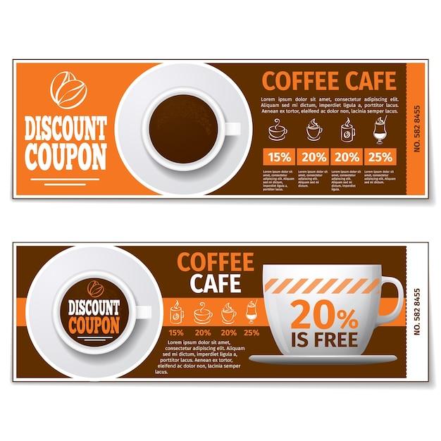 Kaffeerabattgutschein oder geschenkgutschein. etikett kaffeerabatt, banner gutschein, gutschein kaffee espresso, kostenlose geschenkillustration. vektorschablone Kostenlosen Vektoren