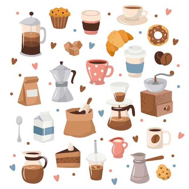 Kaffeesammlung, verschiedene kaffeeelemente mit beschriftung. Premium Vektoren
