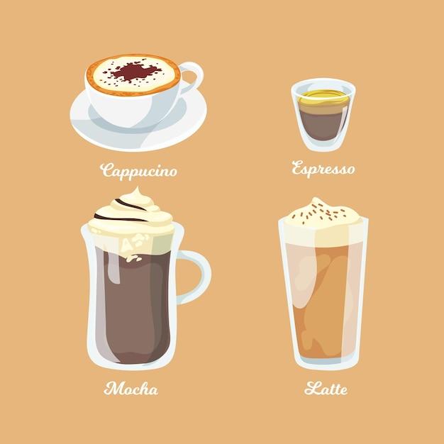 Kaffeesorten-designkollektion Kostenlosen Vektoren
