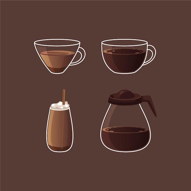Kaffeesorten sammlung Kostenlosen Vektoren