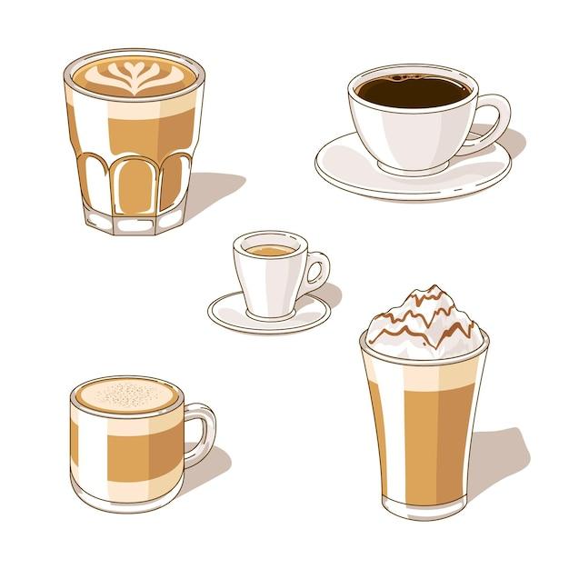 Kaffeesorten sammlung Premium Vektoren