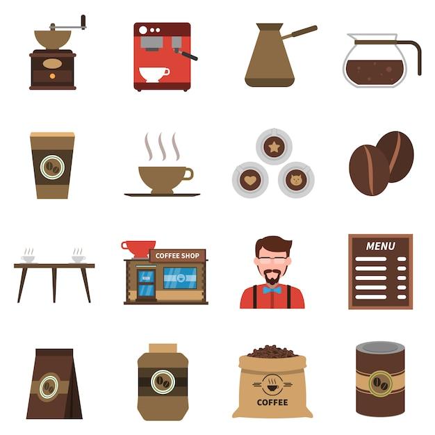 Kaffeestube-flache ikonen eingestellt Premium Vektoren