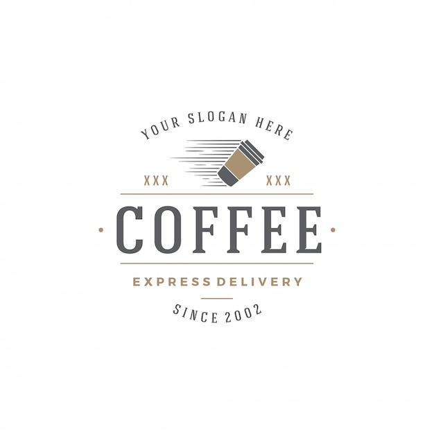 Kaffeestubeemblem-schablonenschale mit bohnenschattenbild mit retro- typografievektorillustration Premium Vektoren