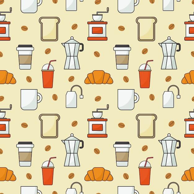 Kaffeestubeikonen stellten muster nahtlos mit orange ein Premium Vektoren