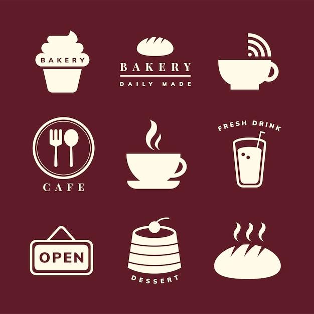 Kaffeestubeikonen-vektorsatz Kostenlosen Vektoren
